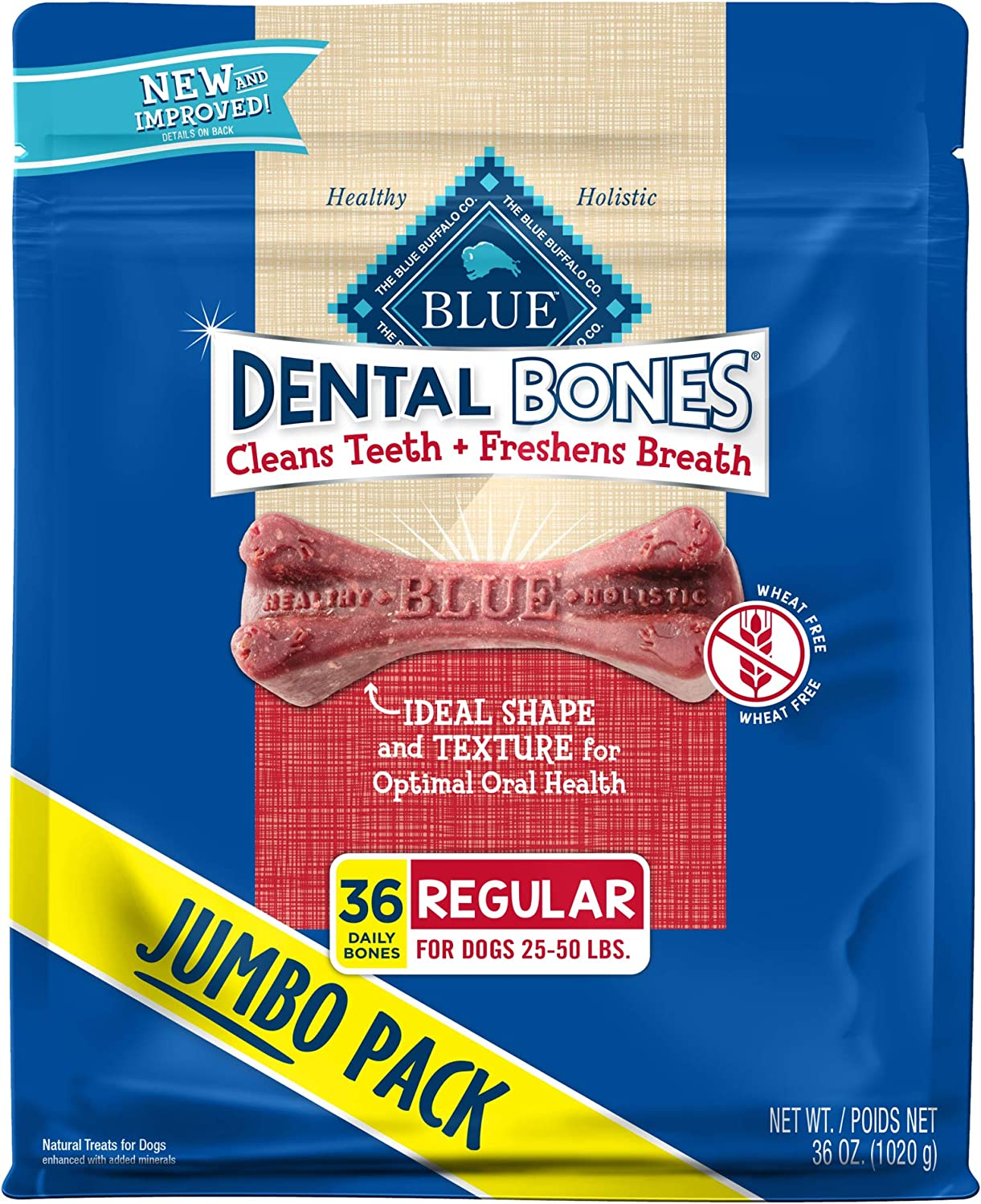 Blue Buffalo Dental Bones Natural Adult Dental Chew Dog Treat Regular 36-oz bag Super Value Pack