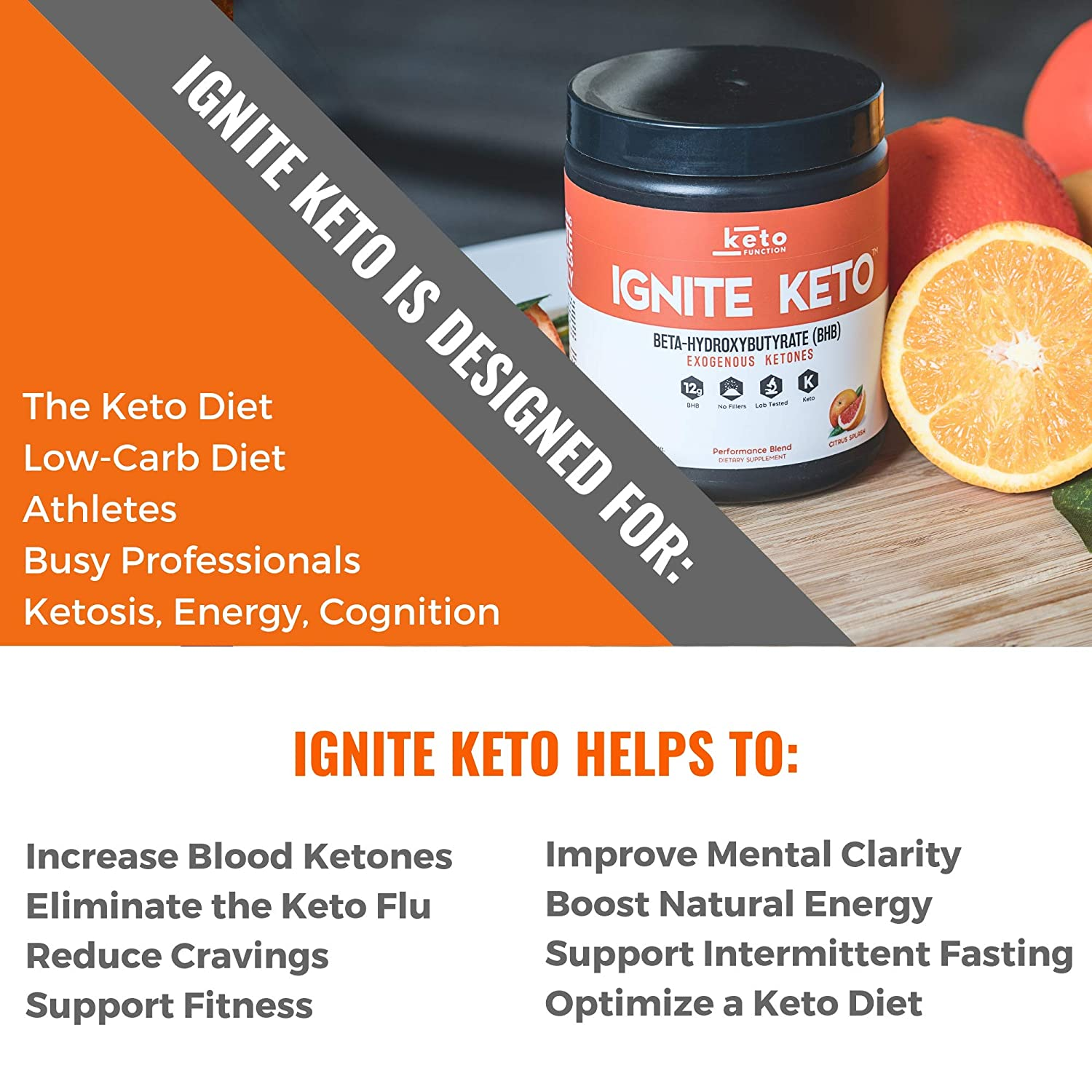 IGNITE KETO Drink - Instant Exogenous Ketones Supplement - 12g Pure BHB  Salts - Fuel