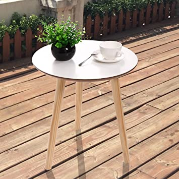 LAZYMOON 3 Legged Round White Side End Table Coffee Table Pine Furniture