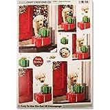Craft Creations Natale 3d Decoupage–dcd617cucciolo cane e regali, regali, Step by Step, formato A4, 210x 297mm