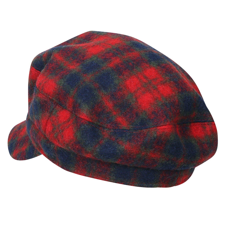 ililily Tartan Checkered Flat Top Newsboy Cabbie Cap Duck Bill Flat Hunting Hat, Red Plaid by ililily (Image #2)