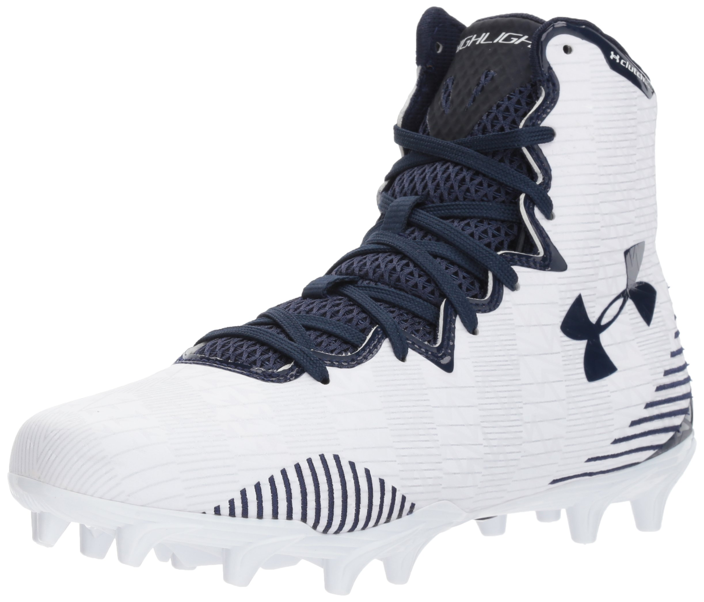 Under Armour Women's Lax Highlight MC Lacrosse Shoe, White (101)/Midnight Navy, 5.5