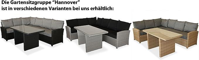 Amazon De Kmh Grosse Naturfarbene Polyrattan Gartensitzgruppe Lounge Esstisch Sofa Hannover Inklusive Auflagen Und Kissen 106118