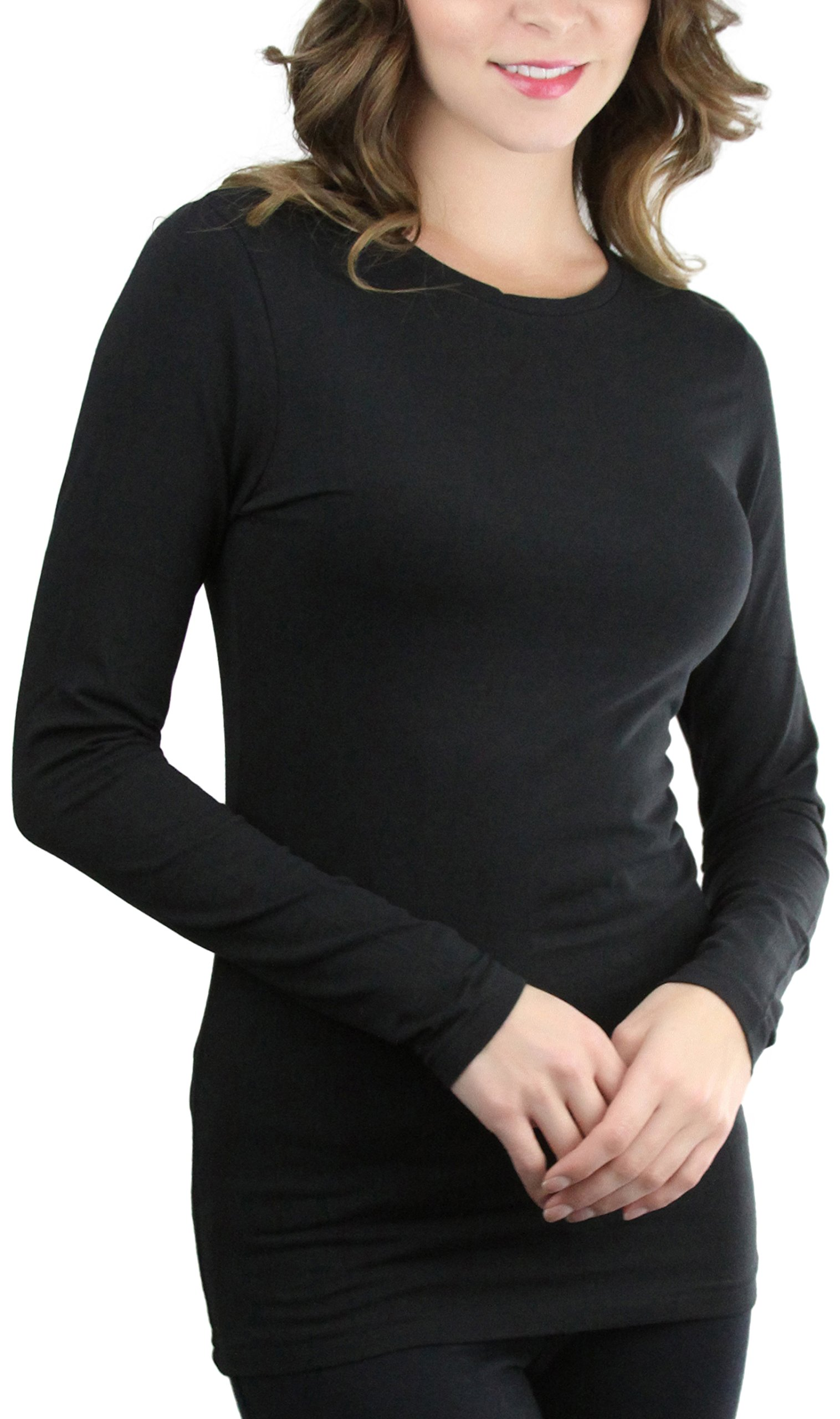 ToBeInStyle Women's Long Sleeve Round Crew Neck T-Shirt - Black - Medium