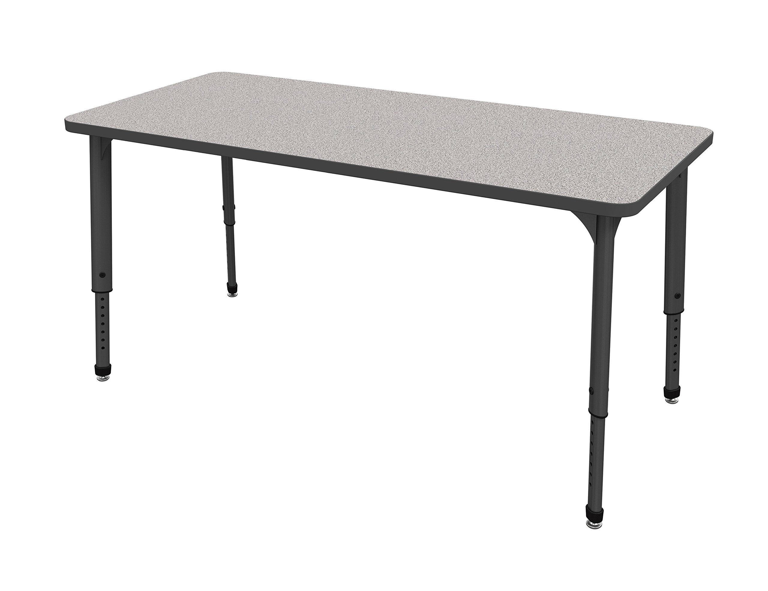 Marco Group 38-2238-77-BLK 30'' x 72'' Classroom Tables Adjustable Height, (21''-30''), Gray Nebula-Top, Black-Trim, Black-Leg by Marco Group