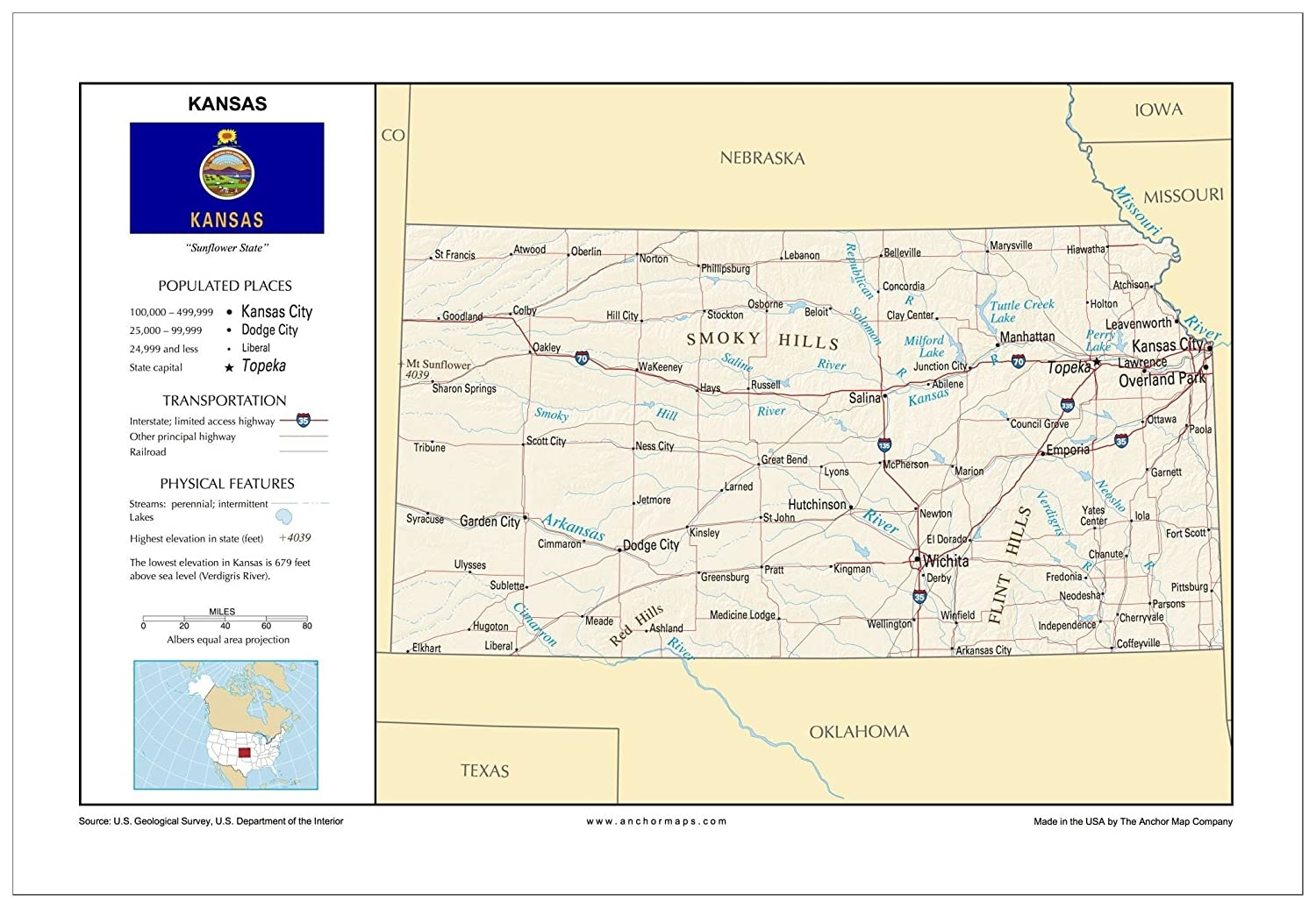 Amazon.com : 13x19 Kansas General Reference Wall Map - Anchor Maps on usa map new orleans, usa map harrisburg, usa map wichita, usa map tampa, usa map chattanooga, usa map united states, usa map santa fe, usa map savannah, usa map eastern pennsylvania, usa map buffalo, usa map cincinnati, usa map charleston, usa map grand rapids, usa map memphis tn, usa map long island, usa map st. louis, usa map fort lauderdale, usa map fort worth, usa map mobile, usa map states labeled,