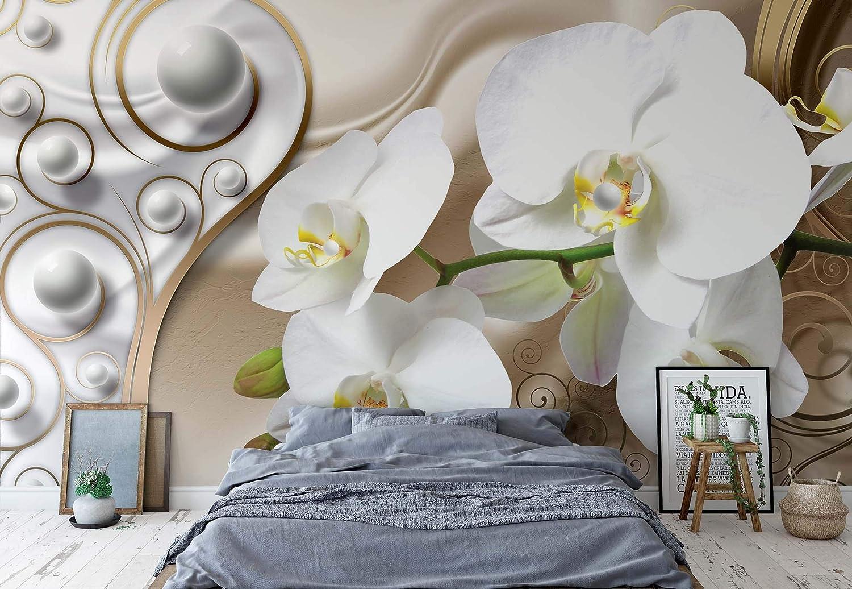 Abstrakte Orchidee Blaumen Design - Wallsticker Warehouse - Fototapete - Tapete - Fotomural - Mural Wandbild - (2952WM) - XXXL - 416cm x 254cm - VLIES (EasyInstall) - 4 Pieces