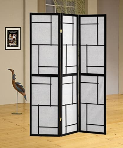 Coaster Home Furnishings Room Screen Divider Contemporary Style in Black Finish