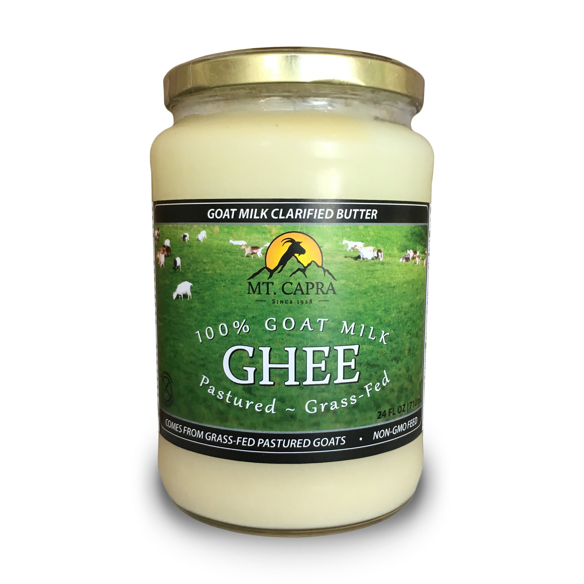 Goat Milk Ghee by Mt. Capra | Grass Fed Clarified Butter High in MCT Oil Perfect for Bulletproof Coffee, Keto, Paleo, and Whole 30 Diets | Pastured Raised and Unsalted | (24 fl oz)
