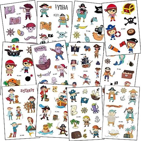 SZSMART Pirata Tatuajes Temporales para Niños, 12 Hojas Pirata ...