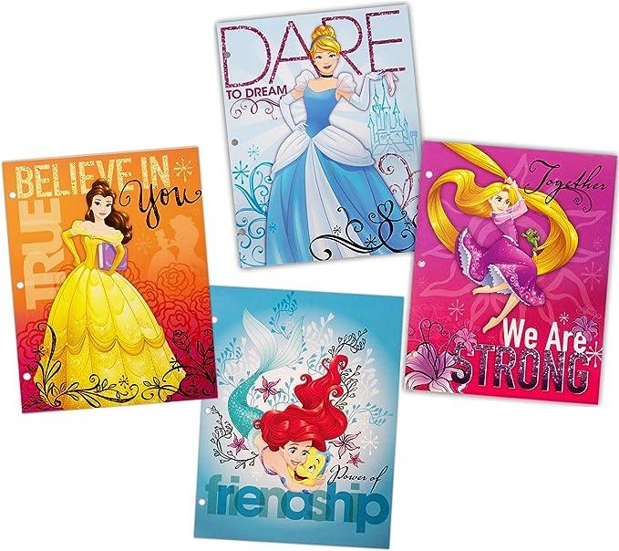 Disney Princess 3 anillas cartera carpetas con bolsillos, pack de 4 unidades: Amazon.es: Oficina y papelería