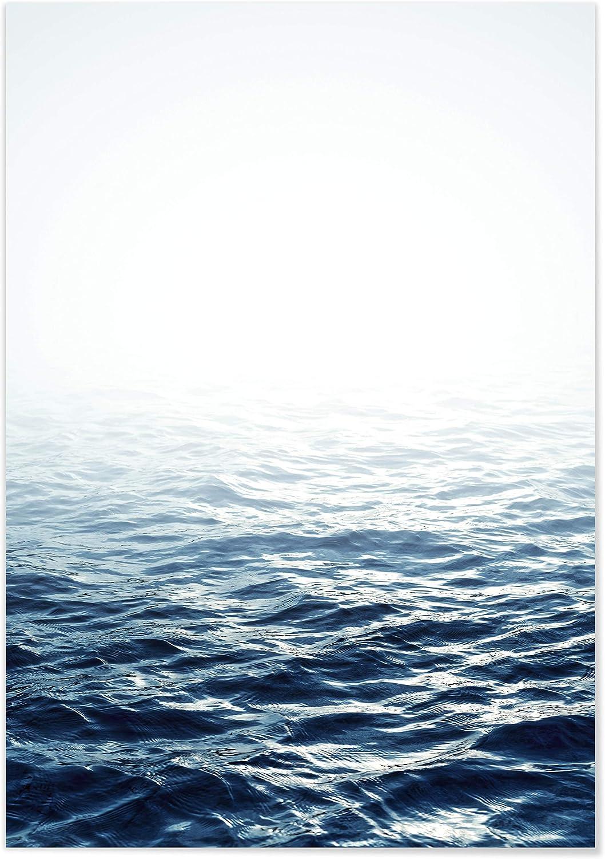 Panorama Póster Mar en Calma 50 x 70 cm - Láminas Decorativas Pared - Impreso en Papel 250gr - Cuadros Paisajes - Póster Naturaleza - Cuadros Decoración Salón