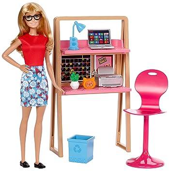 Amazon.es: Barbie Muebles de la casa, Muñeca y escritorio, accesorios casa de muñecas (Mattel DVX52): Juguetes y juegos