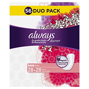 7ade9d6f1f3 Always Discreet Incontinence Panty Liners for Bladder Weakness 1 Pack (1 x  56)  Amazon.co.uk  Health   Personal Care