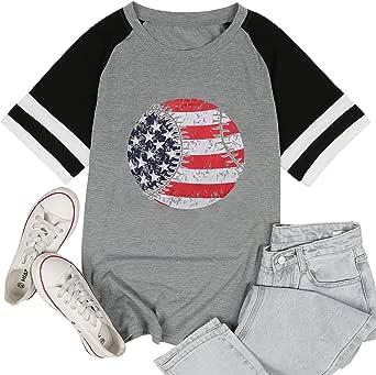 FAYALEQ Women's Merica USA Flag Baseball Printed T-Shirt O-Neck Causal Tee Tops Blouse