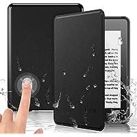 PREUP Funda para Kindle Paperwhite, (10.ª generación, 2018 Release), Carcasa de Cuero Fina y Ligera Sintético con Función de Auto-Reposo/Activación, Impermeable, Color Negro