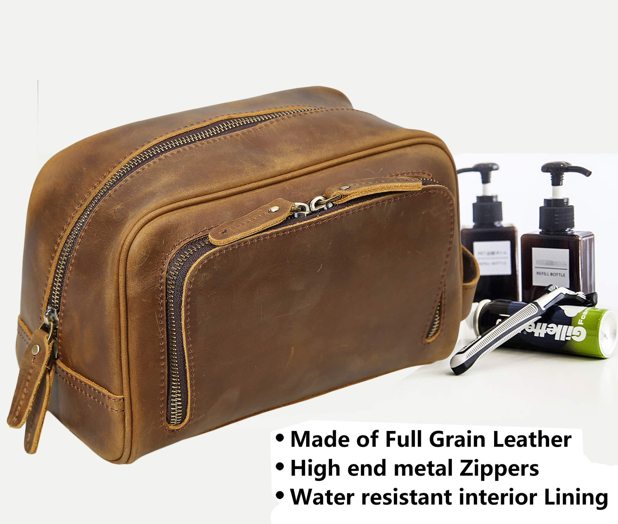 Polare Vintage Full Grain Leather Handmade Travel Toiletry Bag for Men - Dopp Kit - Shaving Kit by POLARE ORIGINAL (Image #6)