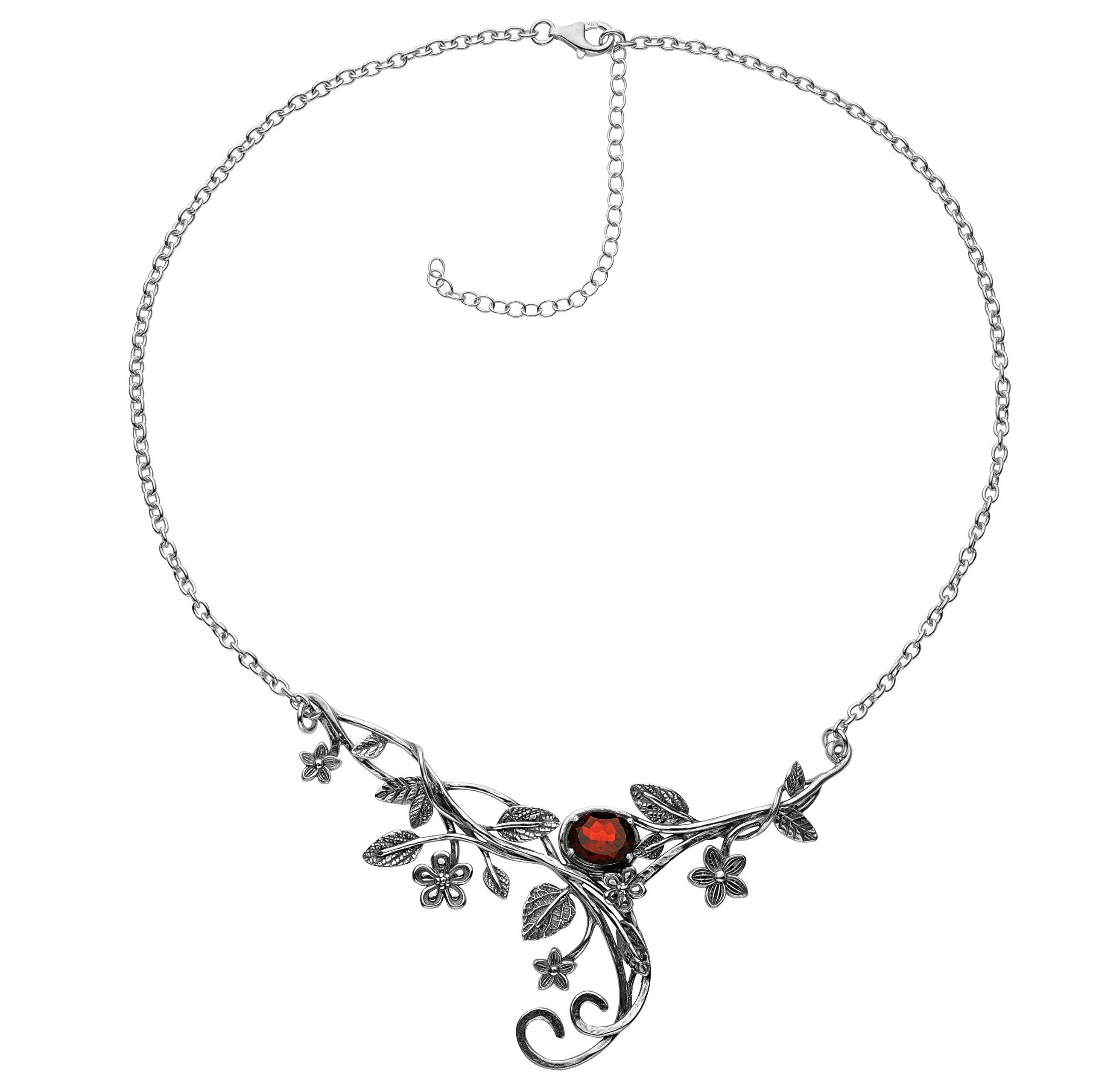 ♥925 Sterling Silver Garnet Floral Swirl Necklace by Paz Creations Fine Jewelry, Made in Israel