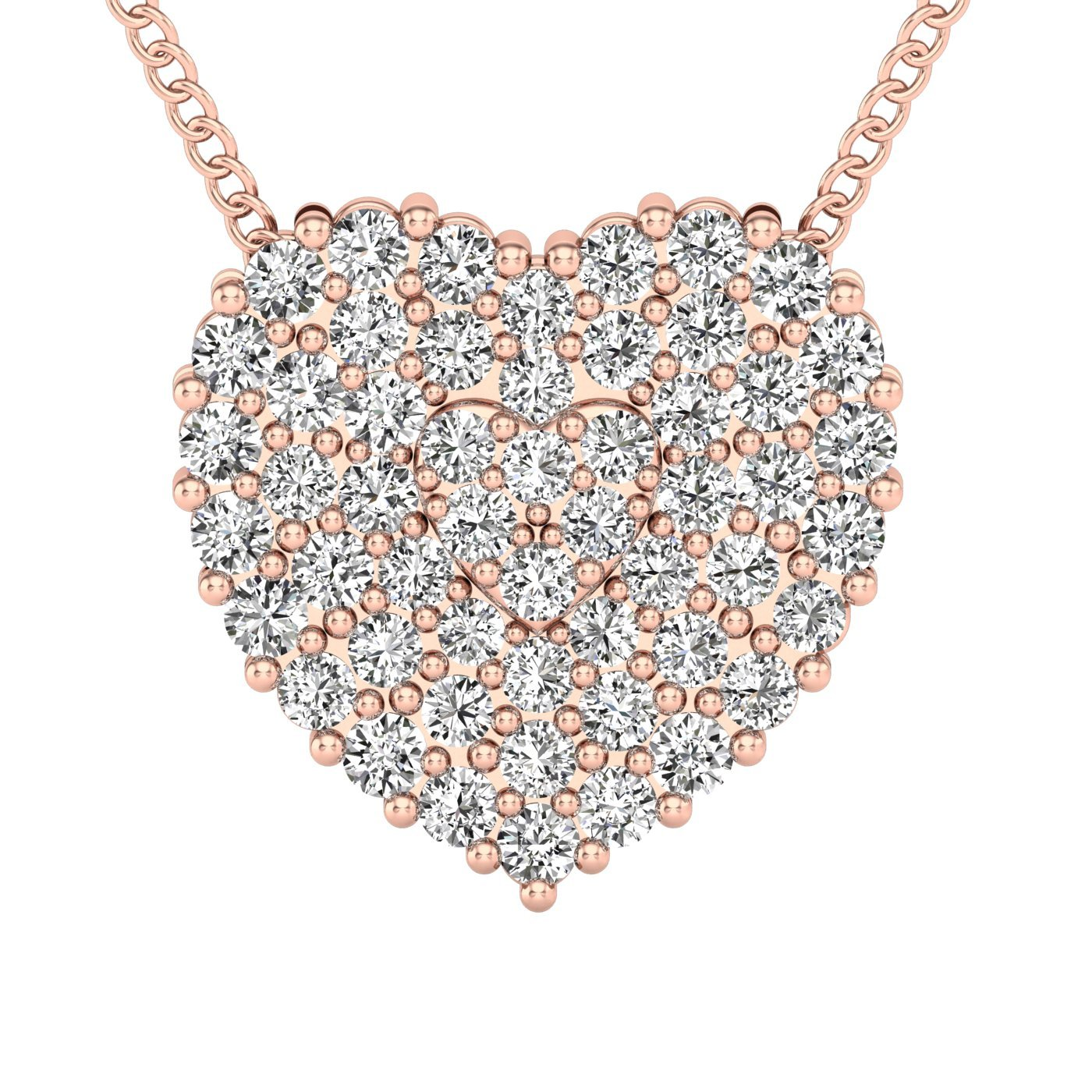 71040e6a7f6 Amazon.com: Heart Diamonds Pendant with Necklace- Round Diamonds ...
