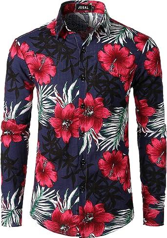 JOGAL - Camisa hawaiana de manga larga con botones para hombre: Amazon.es: Ropa y accesorios