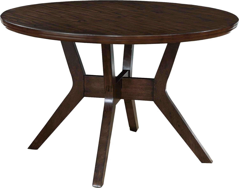 HOMES Inside Out Jenka Walnut Jenak Mid-Century Modern Round Dining Table,