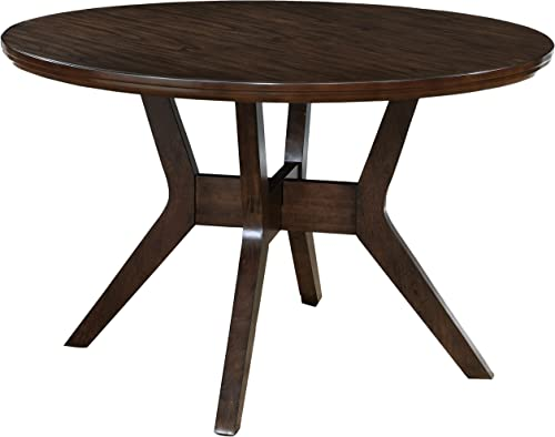 HOMES Inside Out Jenka Walnut Jenak Mid-Century Modern Round Dining Table,