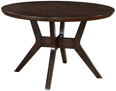 HOMES Inside Out IDF-3354RT Jenka Walnut Jenak Mid-Century Modern Round Dining Table