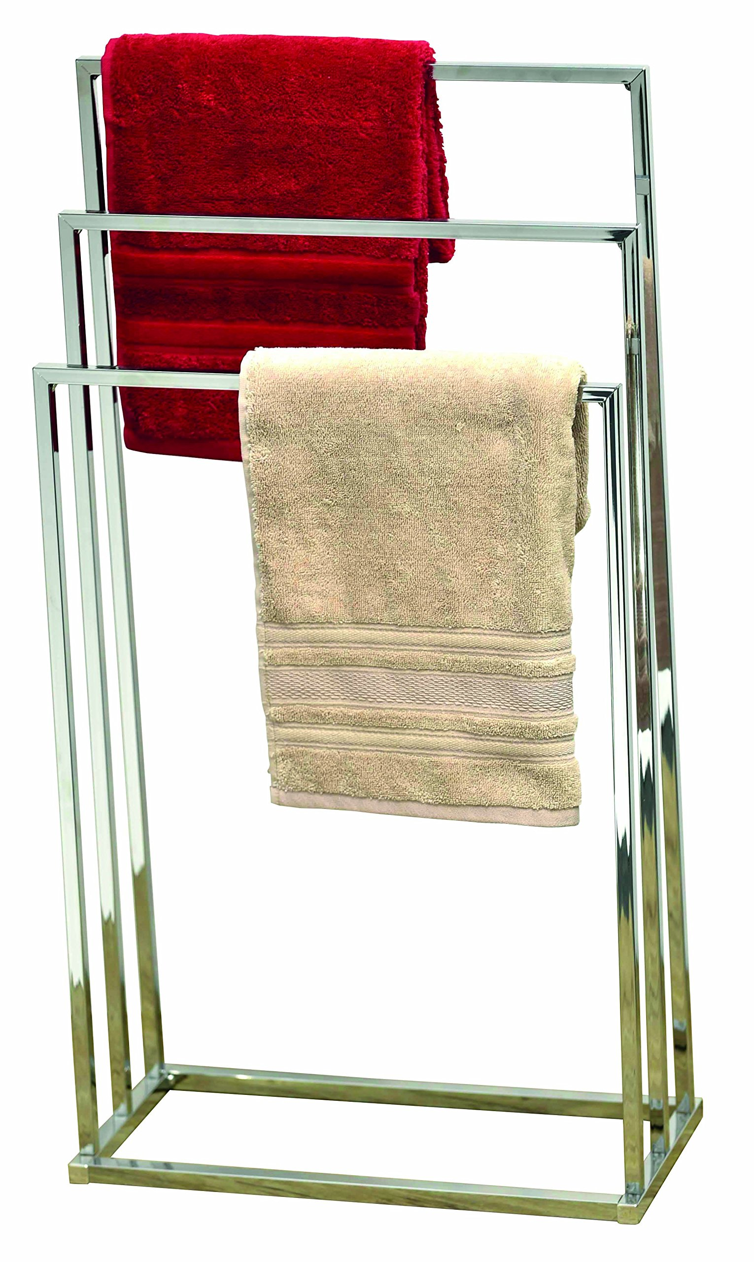 EVIDECO 9669102 3 Bar Towel Rack Square Tube Holder Metal Chrome