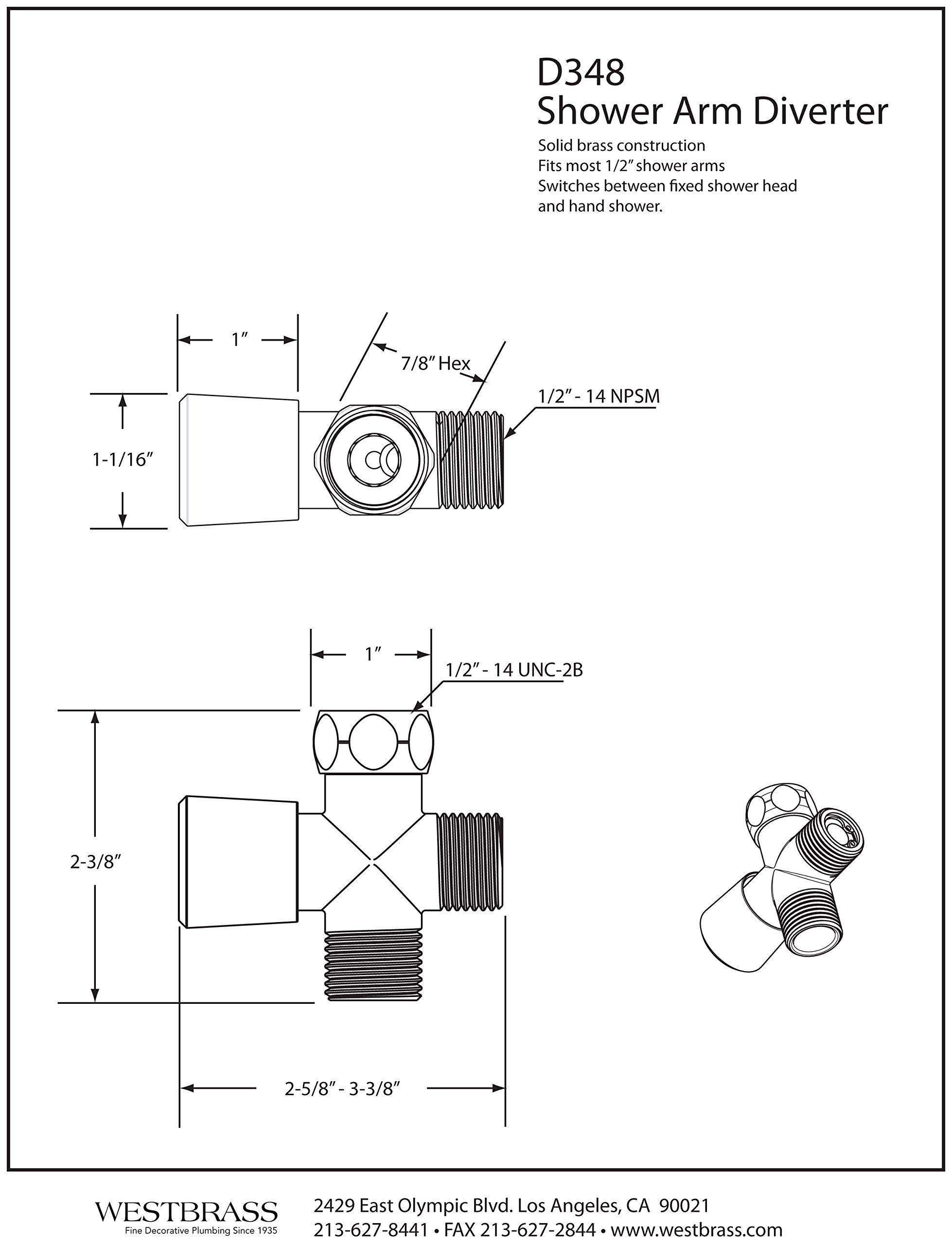 Westbrass R348-62 1/2-Inch IPS Diverter Valve for Shower Arm, Matte Black by Westbrass (Image #3)