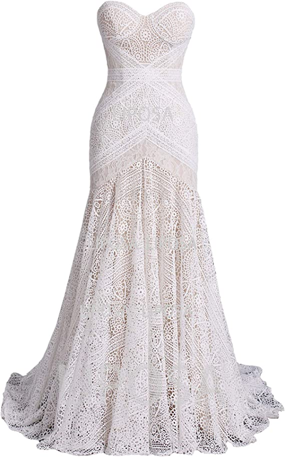 LIPOSA Women's Bohemian Wedding Dresses with Detachable Arm Bands Sweetheart Mermaid Lace Bridal Gown