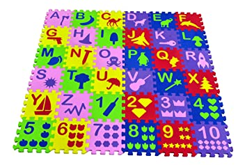 Kirat Toys Multi-Functional Kids Puzzle Mats English Alphabets A to Z and Numbers 1 to 10 (36 Tiles, Multicolour)