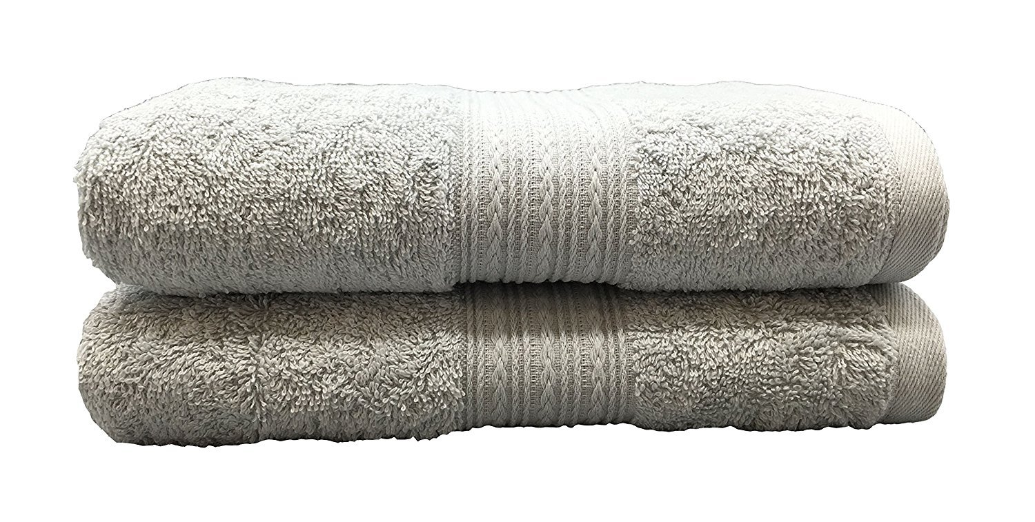 Goza Towels Cotton Large Hand Towels (20 x 35 inches) (Silver, 4 Pack)