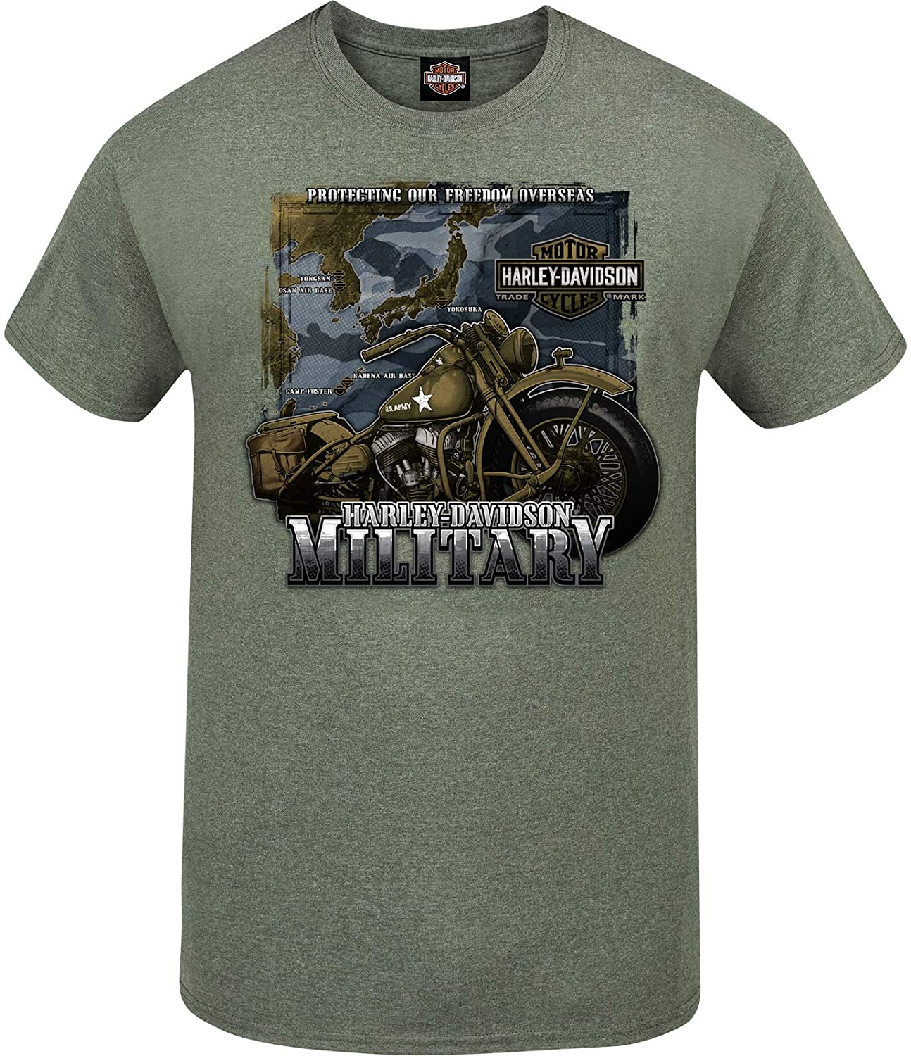 HARLEY-DAVIDSON Military - Camiseta para Hombre, diseño de Tour of Duty Pacific - Verde - 3X-Large: Amazon.es: Ropa y accesorios