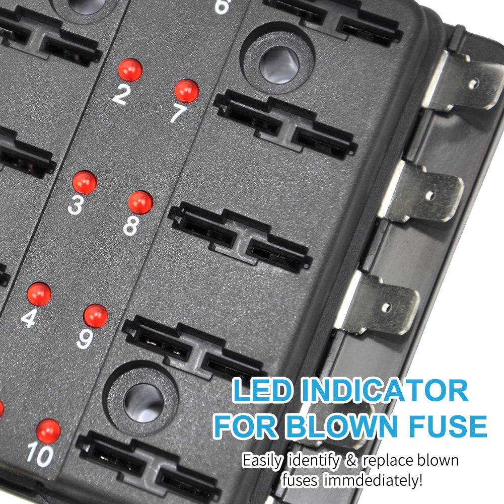 2PCS Liteway 10-Way Blade Fuse Box 2 Years Warranty 12-32V LED Illuminated Automotive Fuse Block for Car Boat Marine Trike with LED Warning Light Kit