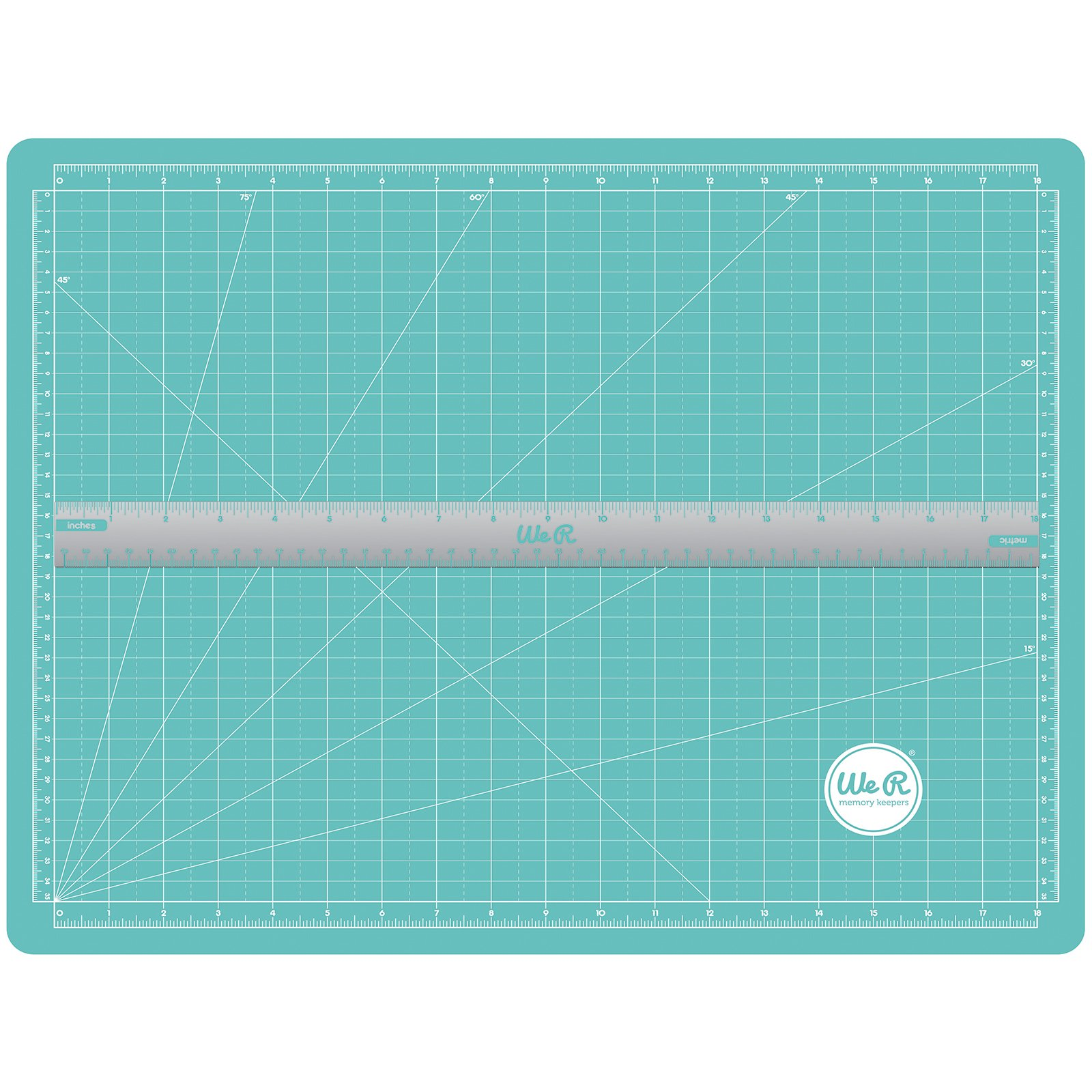 We R Memory Keepers Scalloped Magnetic Ruler Cutting Mat, Blue