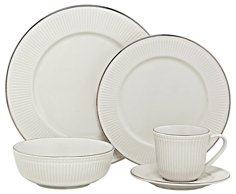 Melange New Italian Villa Porcelain 40-Piece Place Setting, Platinum, Serving for 8 BLY-03P40