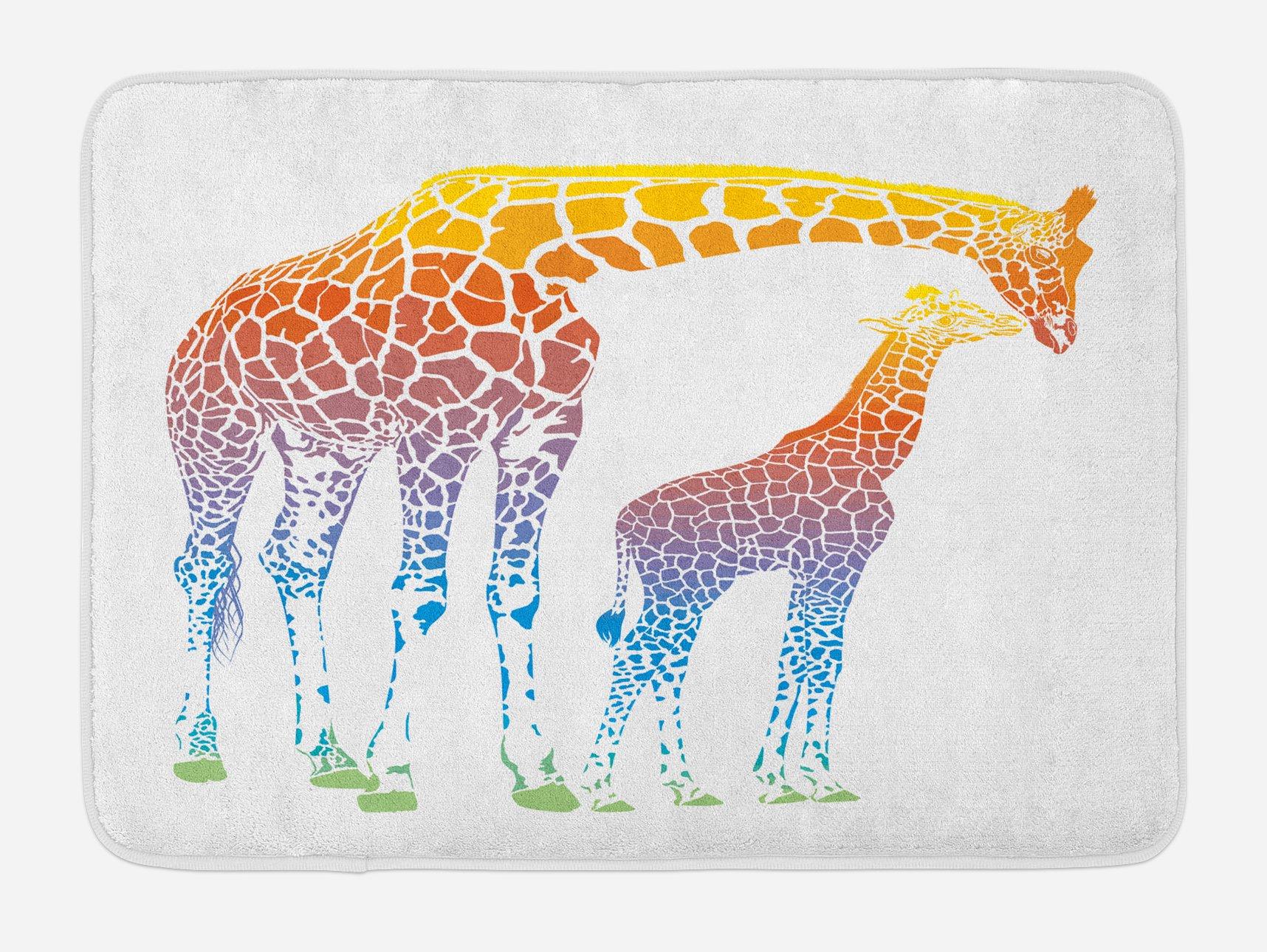 Ambesonne Giraffe Bath Mat, Mom Kid Giraffe in Rainbow Colors Abstract Art Surrealist Image of African Animal, Plush Bathroom Decor Mat with Non Slip Backing, 29.5 W X 17.5 W Inches, Multicolor