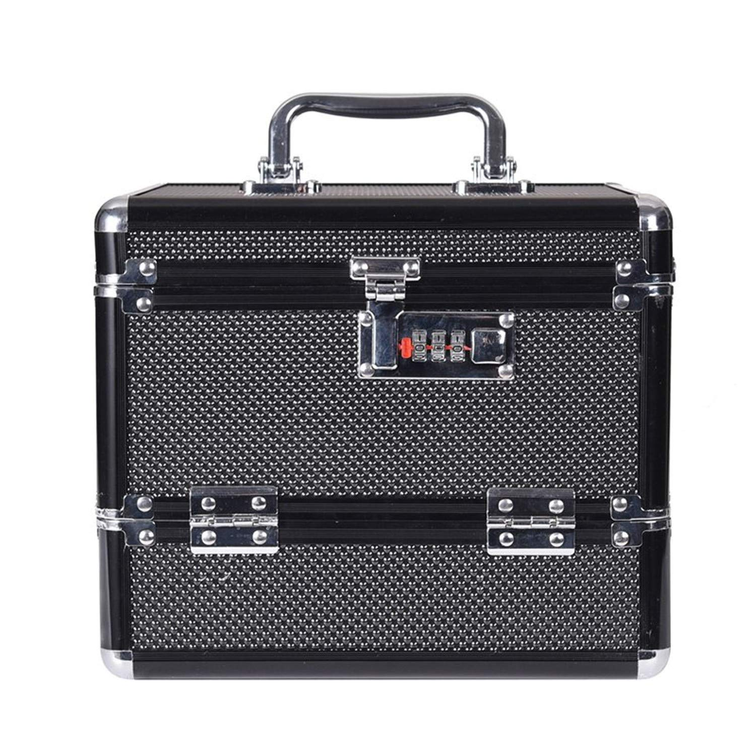Olwen Shop hot selling quality Professional Aluminium alloy Cosmetic case Make up Box Makeup Case Multi Tiers Lockable Jewelry Box (black)