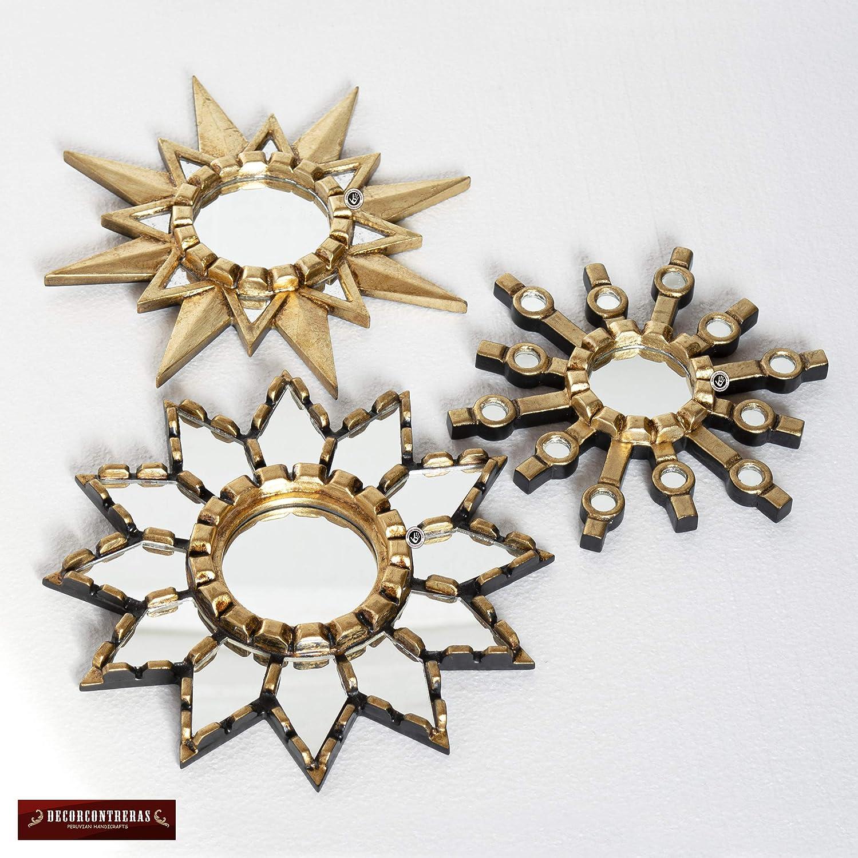Peruvian Hand-carved Wood Mirror decor,Andean Stars Gold Sunburst Round Mirror set 3 Collection Accent Round Sun Mirror set for Wall