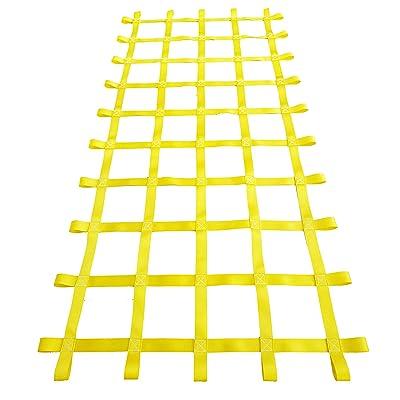 Fong 8 ft X 4 ft Climbing Cargo Net Yellow (96 inch x 48 inch) - Playground Cargo Net - Climbing Net for Swingset - Indoor Climbing Net - Climbing Ladder: Toys & Games