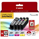 Canon PGI-280XL PGBK/CLI-281CMY, 50 Sheets PP-301 Combo Pack Compatible to TR8520, TR7520, TS9120 Series,TS8120 Series, TS612