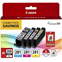 Canon PGI-280XL PGBK/CLI-281CMY, 50 Sheets PP-301 Combo Pack Compatible to TR8520,… photo