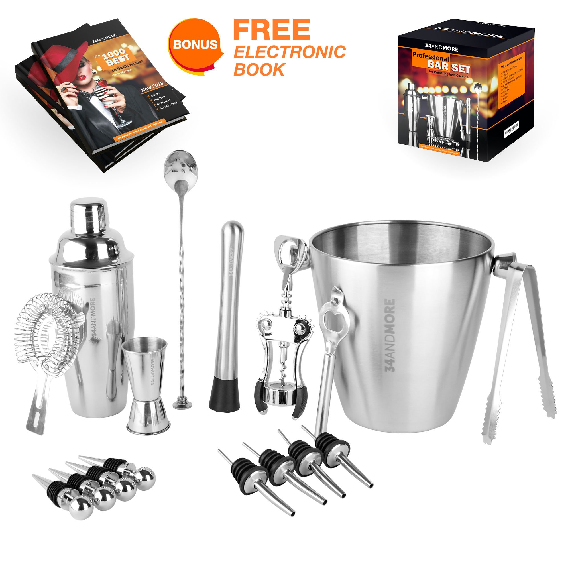 Bar Set 17-Pcs Jumbo Bartender Kit – Premium Cocktail Set Mixology Kit for Bar and Home - Best All-In-One Cocktail Shaker Set - Bartender Mixology Barware Set for Men and Women - Bar Tools Martini Kit by 34andMORE (Image #1)