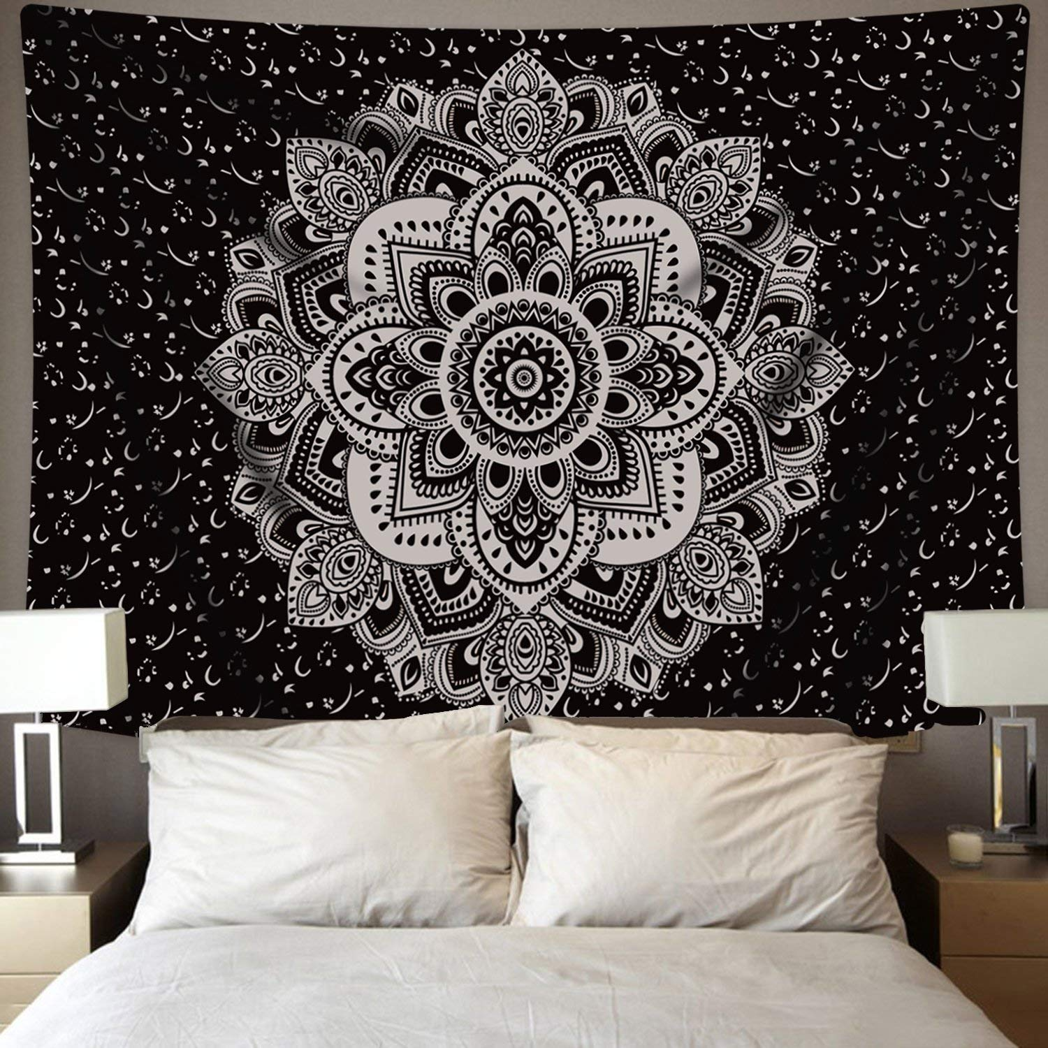 BLEUM CADE Mandala Tapestry Wall Hanging Black & Gray Wall Art Floral Decorative for Bedroom Living Room 51x59 Inches by BLEUM CADE