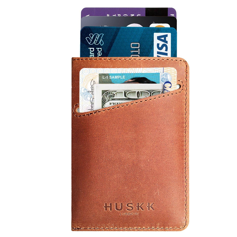 Slim Front Pocket Minimalist Wallet for Men - Card Holder Up to 8 Cards - Leather - HUSKK CSCB