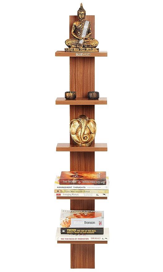 Bluewud Louis Wall Decor Shelf/Wall Display Rack (Walnut, 5 Shelves) S-LO-L5 ...