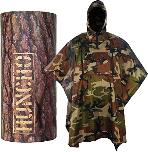 Hunting Rain Poncho with Breathable Zippers and Chest Pocket. Ripstop and Adult Size. Multi-Functional, Waterproof, Compact and Lightweight for Camping, Hiking, Survival and Outdoors.