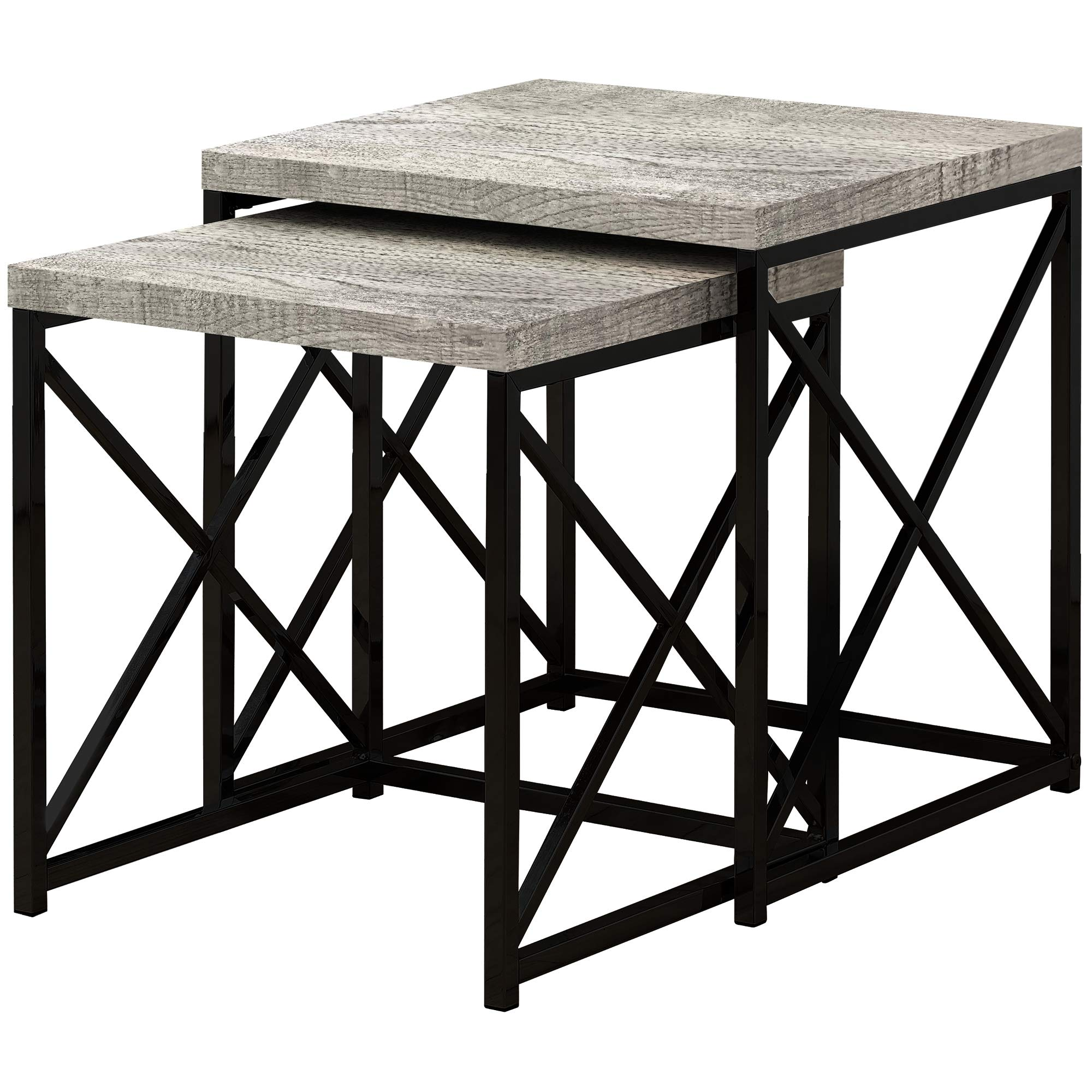 Monarch Specialties I I 3414 TABLE-2PCS Set/Grey Reclaimed Wood/Black Nesting Table, Gray by Monarch Specialties
