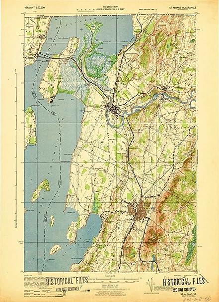Amazon.com: YellowMaps St Albans VT topo map, 1:62500 Scale, 15 X 15 ...