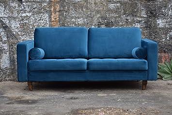 Sofa Venice Vintage Samt Blau 3 Sitzer 230 Amazon De Kuche Haushalt